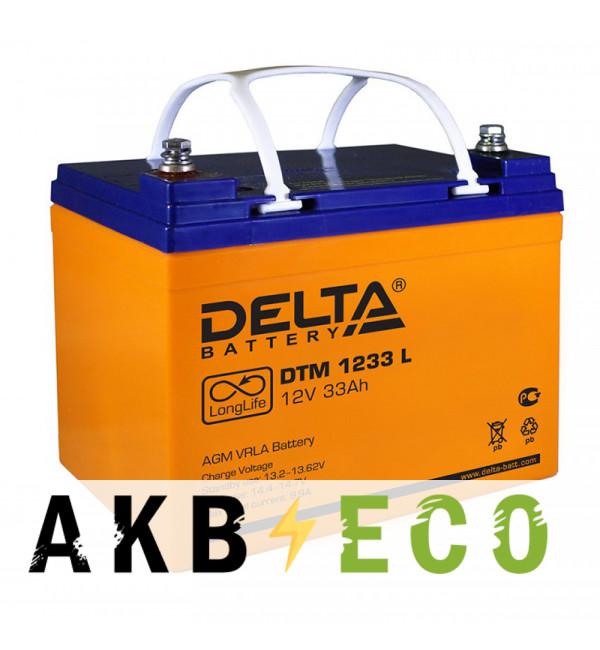 Аккумуляторная батарея Delta DTM 1233 L, 12V 33 Ач (195x130x155)