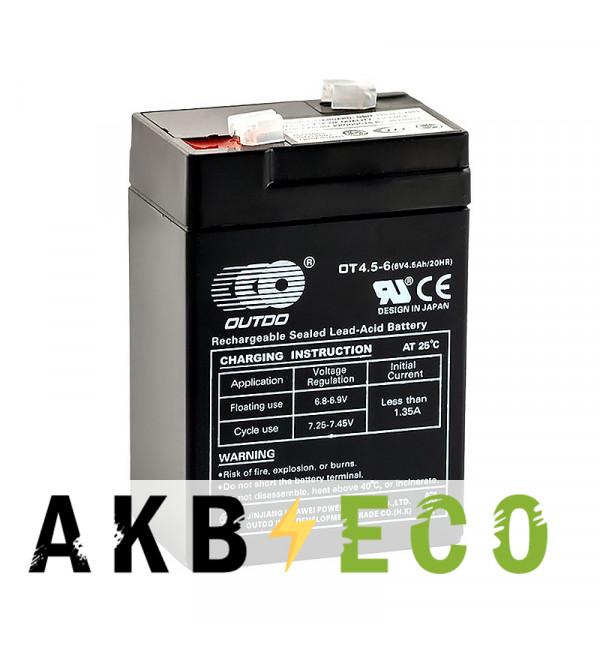 Аккумуляторная батарея OUTDO VRLA 6V 4.5 Ah (OT4.5-6) 70x48x100