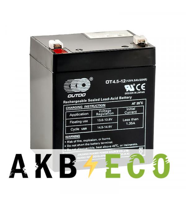 Аккумуляторная батарея OUTDO VRLA 12V 4.5 Ah (OT4.5-12) 90х70х102