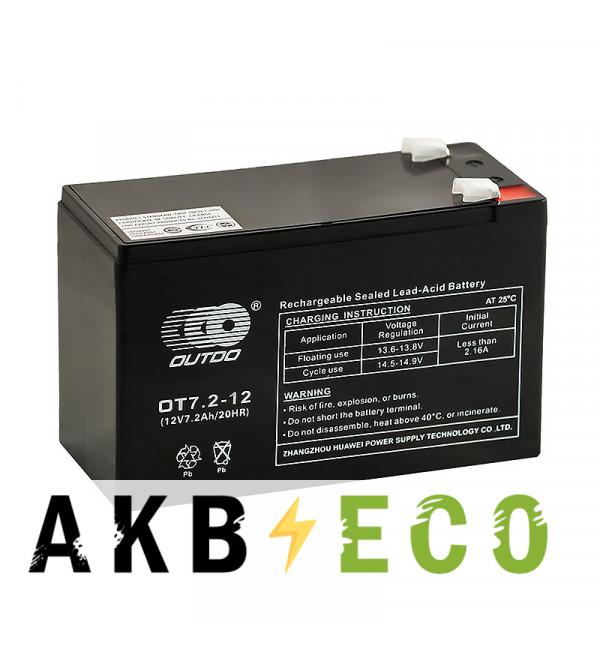 Аккумуляторная батарея OUTDO VRLA 12V 7.2 Ah (OT7.2-12) 151х65х94