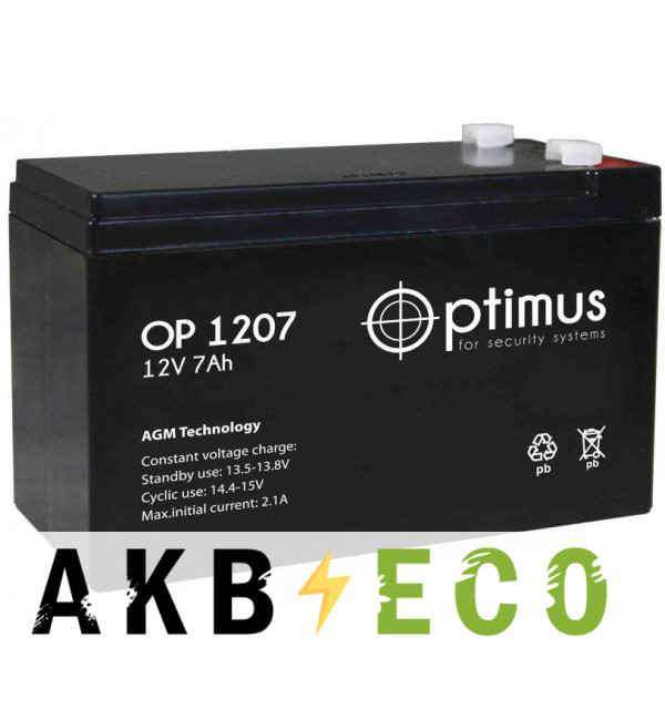 Аккумуляторная батарея OPTIMUS 12V 7Ач (OP 1207) 151x65x94