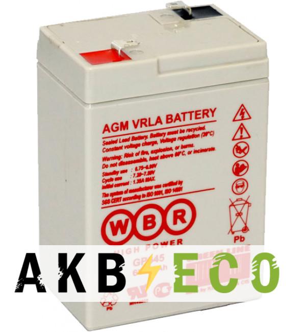Аккумуляторная батарея WBR GP 645 6V 4.5 Ah (70x48x100)