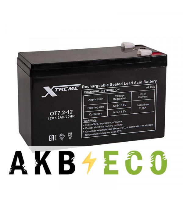 Аккумуляторная батарея Xtreme VRLA 12V 7.2 Ah (OT7.2-12) 151х65х94