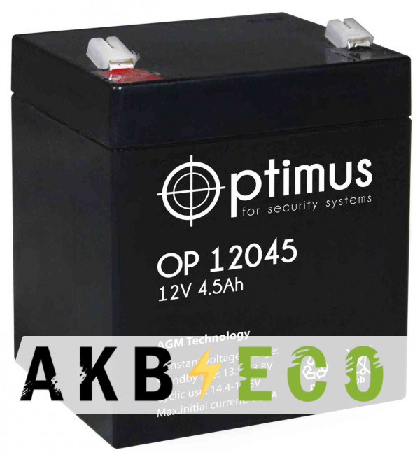 Аккумуляторная батарея OPTIMUS 12V 4.5Ач (OP 12045) 90x70x102