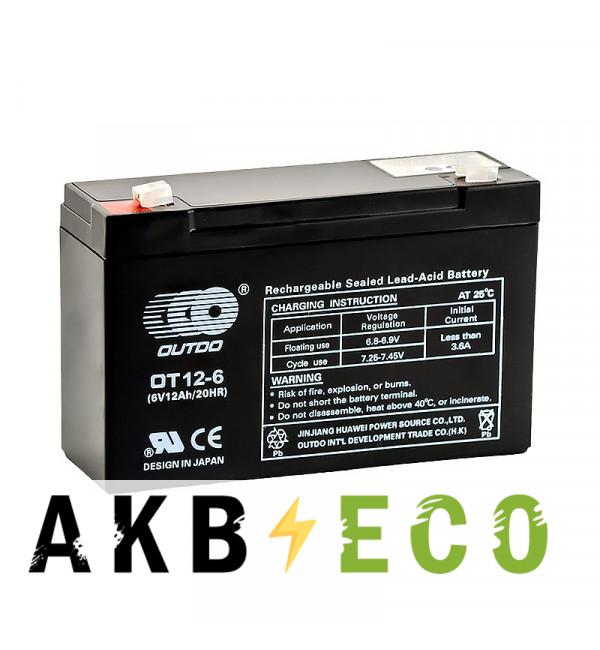 Аккумуляторная батарея OUTDO VRLA 6V 12 Ah (OT12-6) 151х51х94