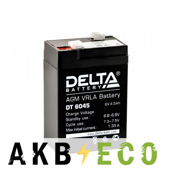 Аккумуляторная батарея Delta DT 6045, 6V 4.5Ah (70x47x101)