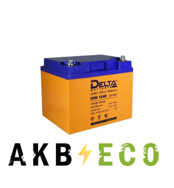 Аккумуляторная батарея Delta DTM 1240, 12V 40Ah (195x130x155)
