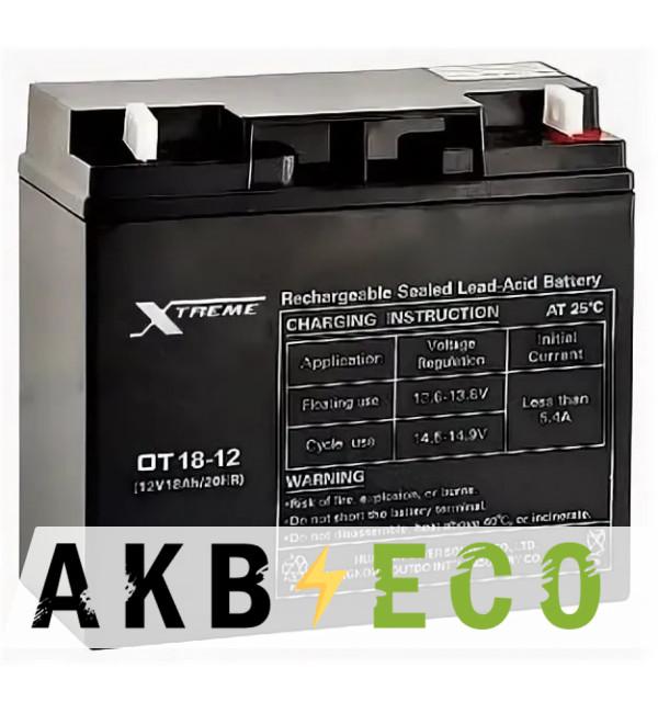 Аккумуляторная батарея Xtreme VRLA 12V 18 Ah (OT18-12) 181x77x167