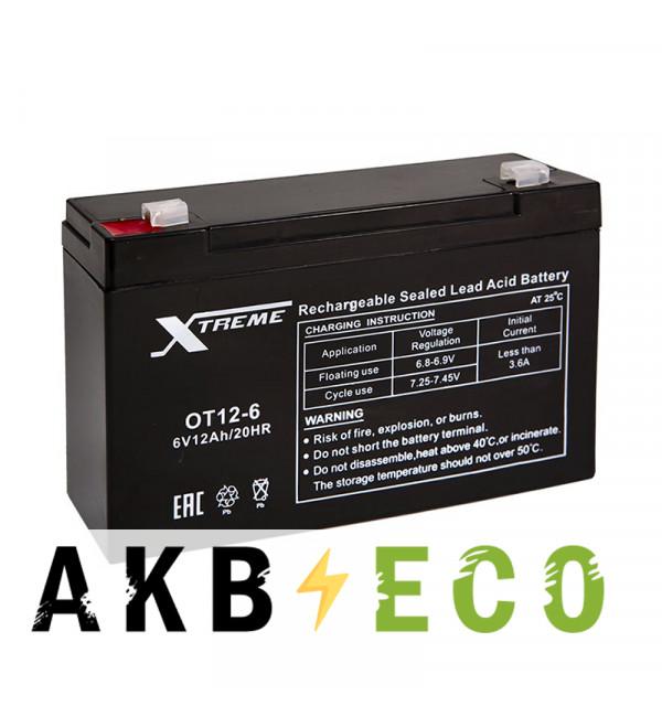 Аккумуляторная батарея Xtreme VRLA 6V 12 Ah (OT12-6) 151х51х94
