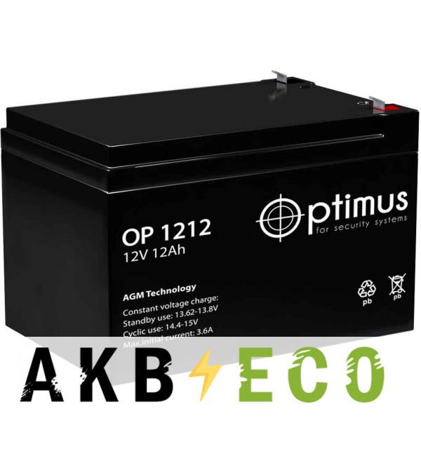 Аккумуляторная батарея OPTIMUS 12V 12Ач (OP 1212) 151x98x100