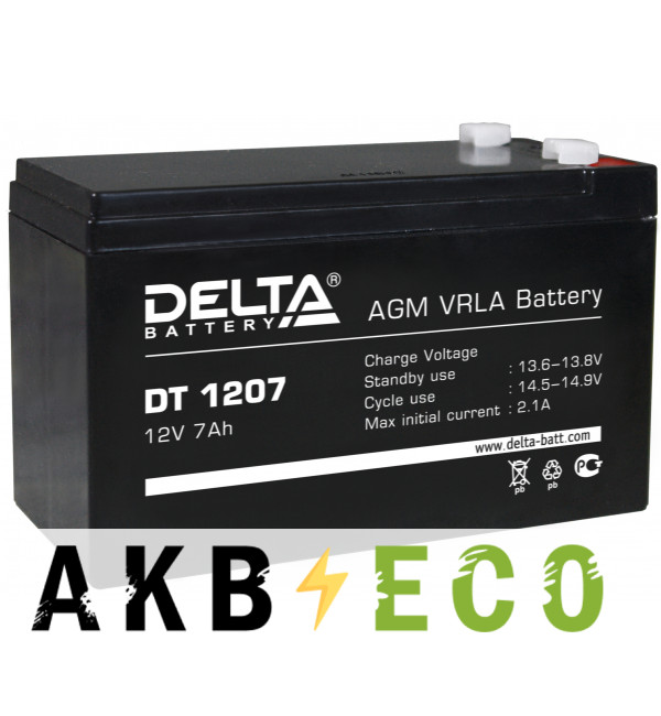 Аккумуляторная батарея Delta DT 1207, 12V 7Ah (151x65x102)