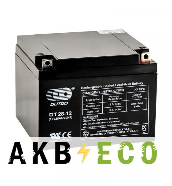 Аккумуляторная батарея OUTDO VRLA 12V 28 Ah (OT28-12) 175x165x125