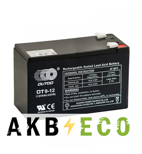 Аккумуляторная батарея OUTDO VRLA 12V 9 Ah (OT9-12) 151х65х94