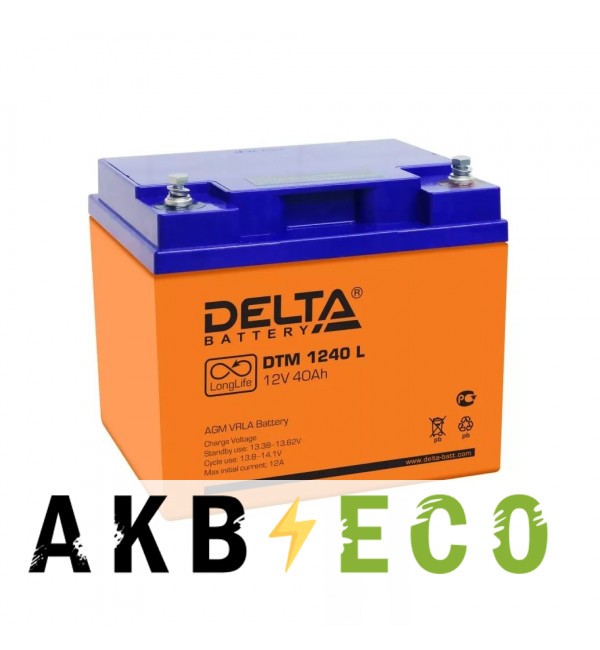 Аккумуляторная батарея Delta DTM 1240 L, 12V 40Ah (198x166x170)