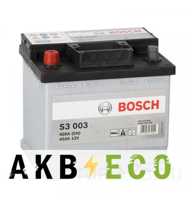 Автомобильный аккумулятор Bosch S3 003 45L 400A 207x175x190