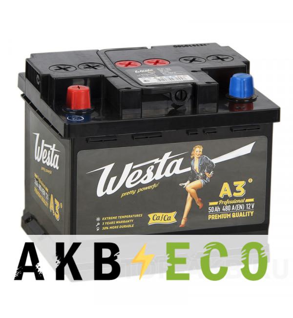 Автомобильный аккумулятор Westa 50L 480A 207x175x175