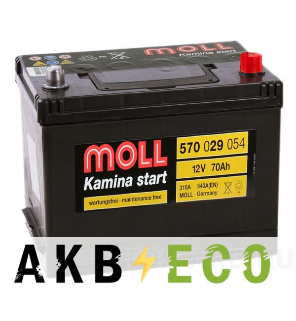 Автомобильный аккумулятор Moll Kamina Start Asia 70R 540A (260x169x225)