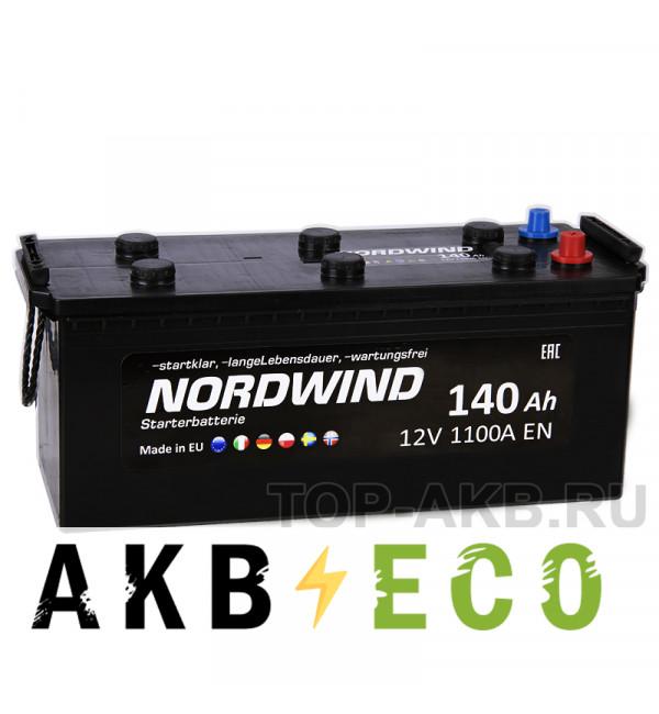 Автомобильный аккумулятор Nordwind 140 евро 1100А 513x189x223