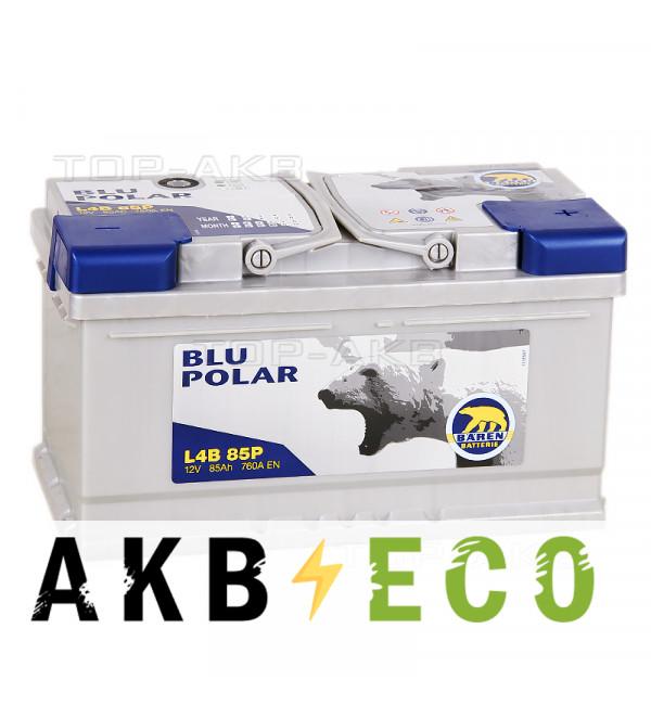Автомобильный аккумулятор Baren Polar Blu 85R низкий 760A (315x175x175) L4B 85P