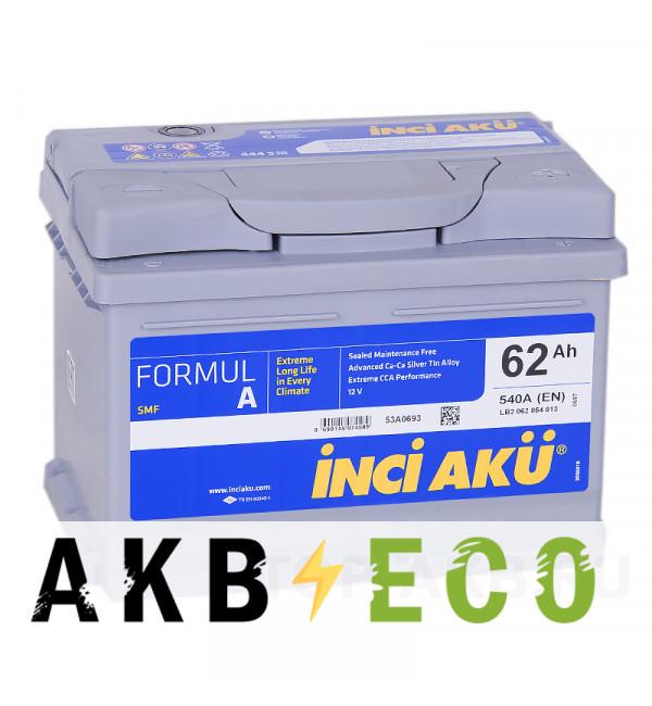 Автомобильный аккумулятор INCI AKU 62R низкий 540A 242x175x175