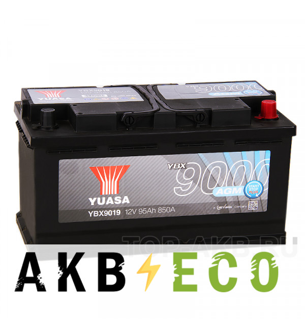 Автомобильный аккумулятор YUASA AGM 95R (850А 353x175x190) Start-Stop Plus, YBX9019