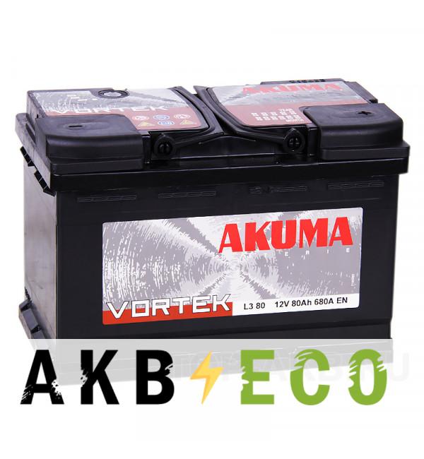 Автомобильный аккумулятор Akuma Vortek 80R 680A (278x175x190)