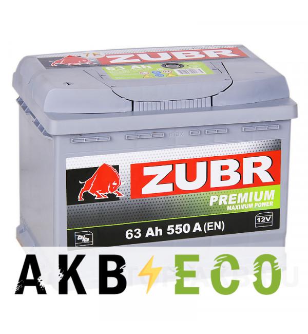 Автомобильный аккумулятор ZUBR Premium 63L 640A (242x175x190)