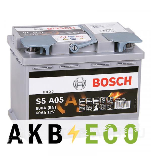 Автомобильный аккумулятор Bosch S5 A05 AGM 60R 680A 242x175x190 Start-Stop