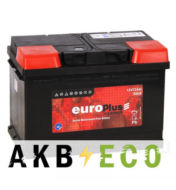 Автомобильный аккумулятор Europlus 72R 680A (278x175x190) 111472