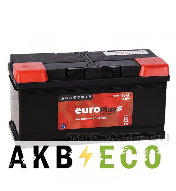Автомобильный аккумулятор Europlus 100R низкий (920A 353x175x175)