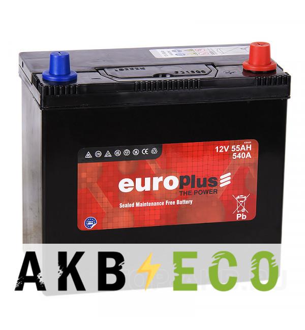 Автомобильный аккумулятор Europlus Asia 55R (540А 238x129x227) B24 обр.