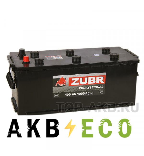 Автомобильный аккумулятор ZUBR Professional 190 рус (1000A 513x223x223)