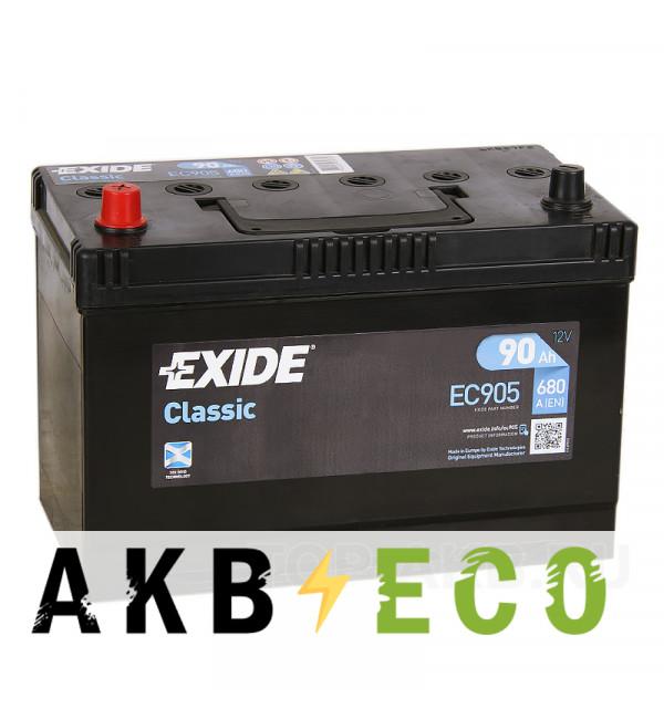 Автомобильный аккумулятор Exide Classic 90L 680A 306x173x1225 EC905