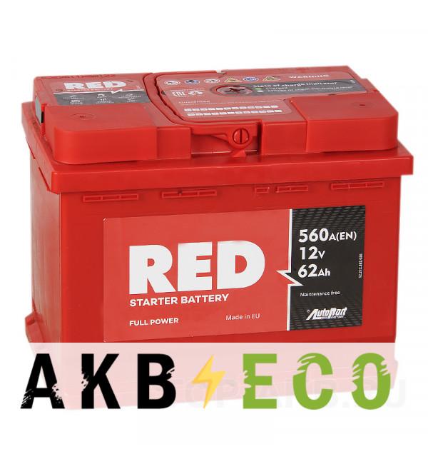 Автомобильный аккумулятор Red 62R 560A 242x175x190