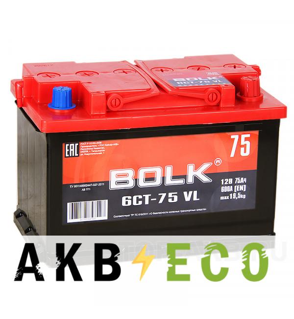 Автомобильный аккумулятор BOLK 75R 600A 278x175x190 AB750