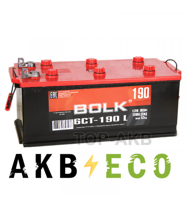 Грузовой аккумулятор BOLK 190 рус клеммы под болт 1200A (524X239X240) AB1901