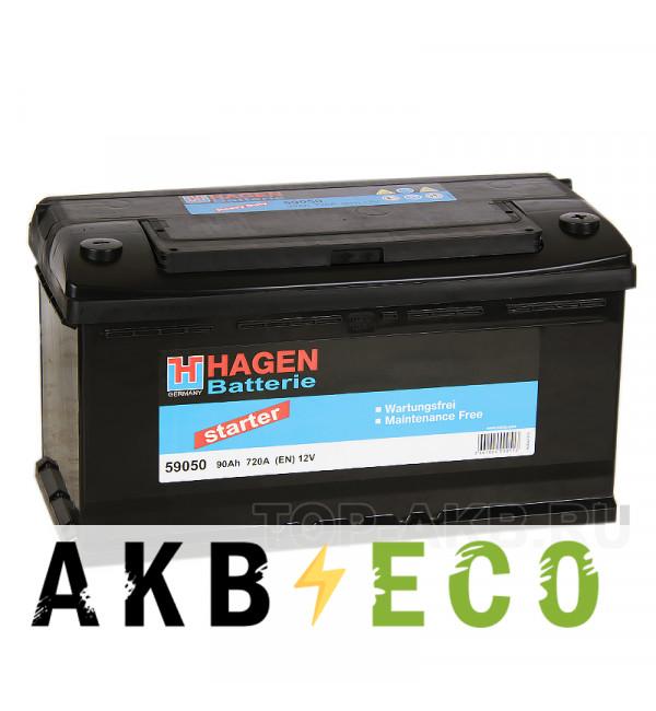 Автомобильный аккумулятор Hagen 59050 90R 720A 353x175x190