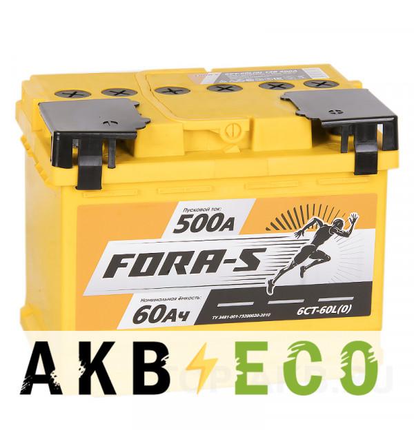 Автомобильный аккумулятор FORA-S 60R 500A 242x175x190
