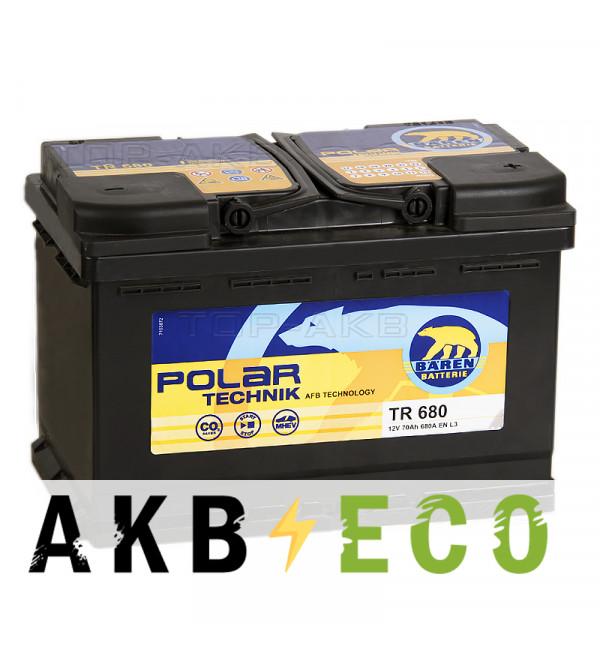 Автомобильный аккумулятор Baren Technik AFB 70Ач обратная пол. (680А 278x175x190) TR680