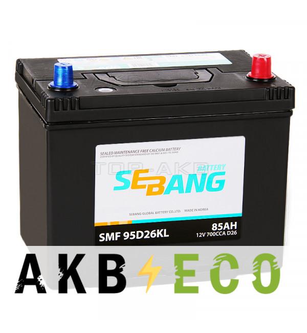 Автомобильный аккумулятор Sebang 95D26KL 85 Ач обратная пол. 700А (260x173x225)