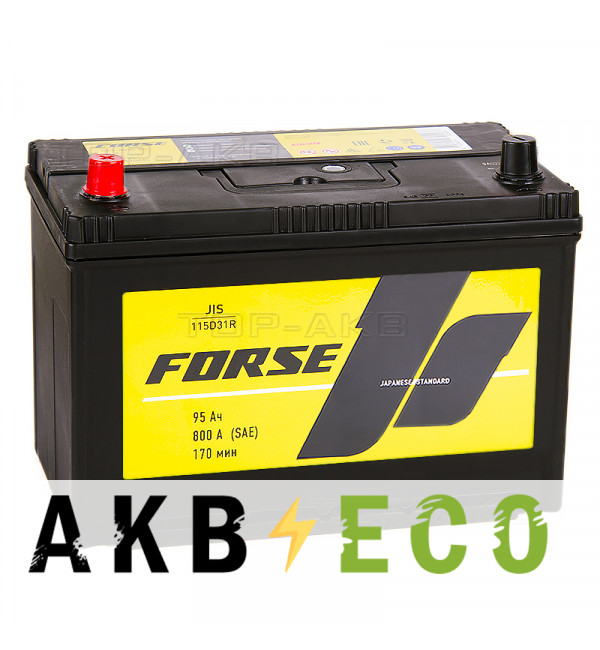 Автомобильный аккумулятор Forse JIS 115D31R 95 Ач 800А прямая пол. (302x173x225)