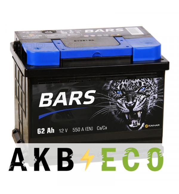 Автомобильный аккумулятор Bars 62L 550A 242x175x190