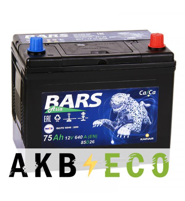 Автомобильный аккумулятор Bars Asia 75R 640A (261x173x225)