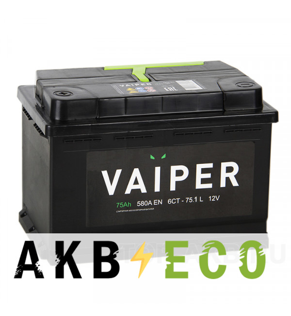 Автомобильный аккумулятор Vaiper 75L 580A 275x175x190