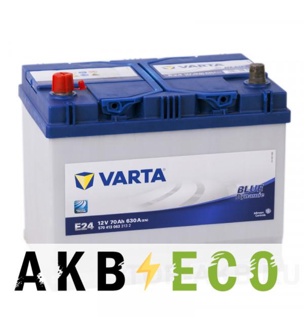 Автомобильный аккумулятор Varta Blue Dynamic E24 70L 630A 261x175x220