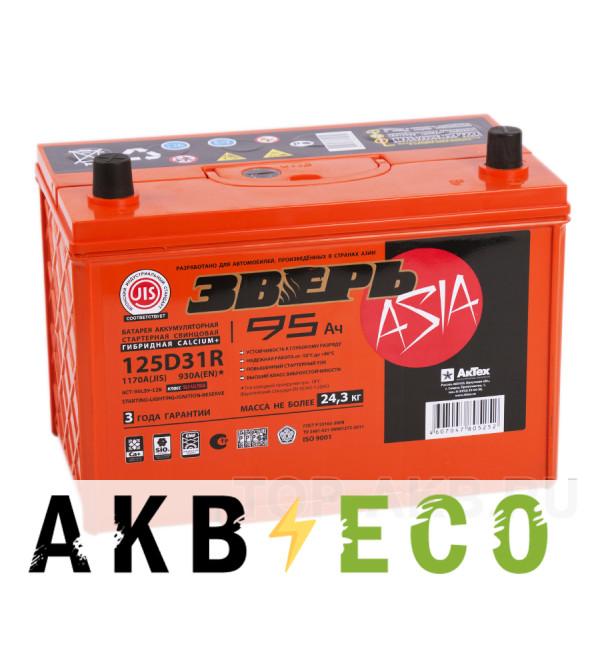 Автомобильный аккумулятор Зверь 125D31R (95L 930A 306x173x223)