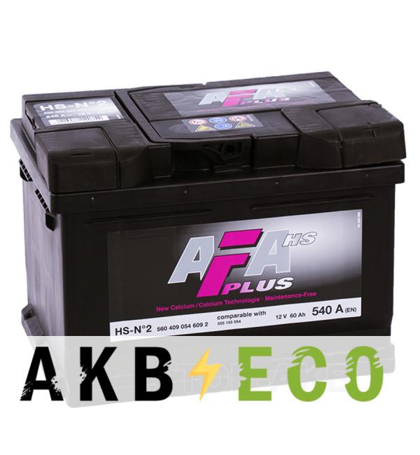 Автомобильный аккумулятор AFA Plus 60R низкий 540A (242x175x175) HS-N2