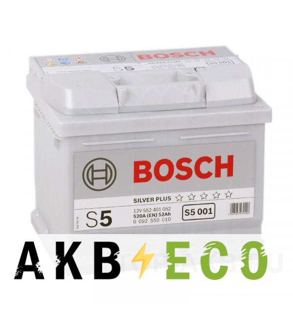 Автомобильный аккумулятор Bosch S5 001 52R 520A 207x175x175