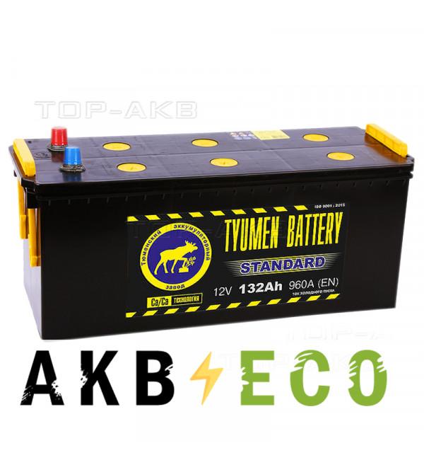 Грузовой аккумулятор Tyumen Battery Standard 132 Ач обр. пол. 960A (513х189х230)