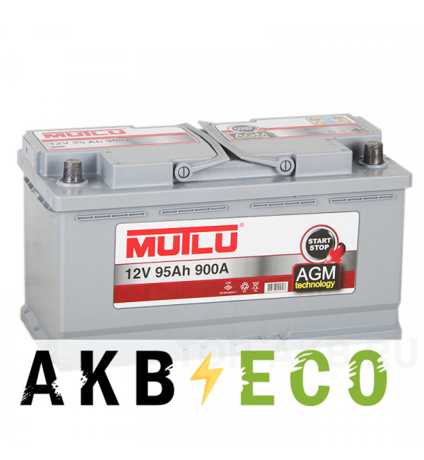 Автомобильный аккумулятор Mutlu AGM Start-Stop 95R 900A 353x175x190 гелевый